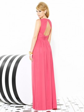 Dessy Bridesmaid dress 6709. bateau neckline, open back