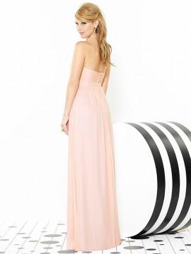 Dessy 6710 Strapless Chiffon full length bridesmaid dress