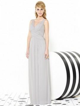 Dessy bridesmaid dress 6711, Full length bridesmaid dress with V neck