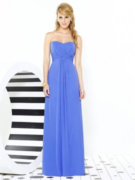 Dessy bridesmaid dress 6713, strapless Lux Chiffon full length Bridesmaid dress
