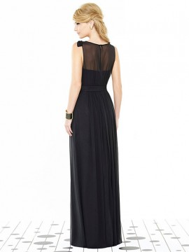 Dessy Bridesmaid dress 6714 , sheer top and bow detail on shoulder with satin waist belt