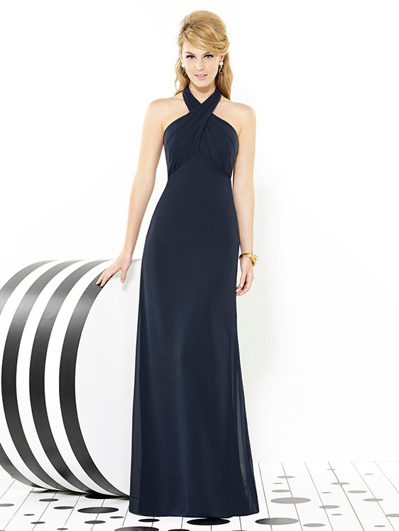 Dessy bridesmaid dress 6716, full length Nu Georgette cross over halter neck bridesmaid dress