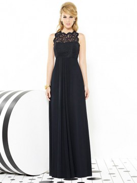 Dessy bridesmaid dress 6722 , sleeveless full length Nu Georgette dress, lace bodice