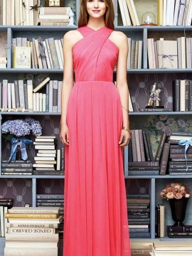 Lela Rose LR212 Bridesmaid dress, floor length halter neckline crinkle chiffon dress