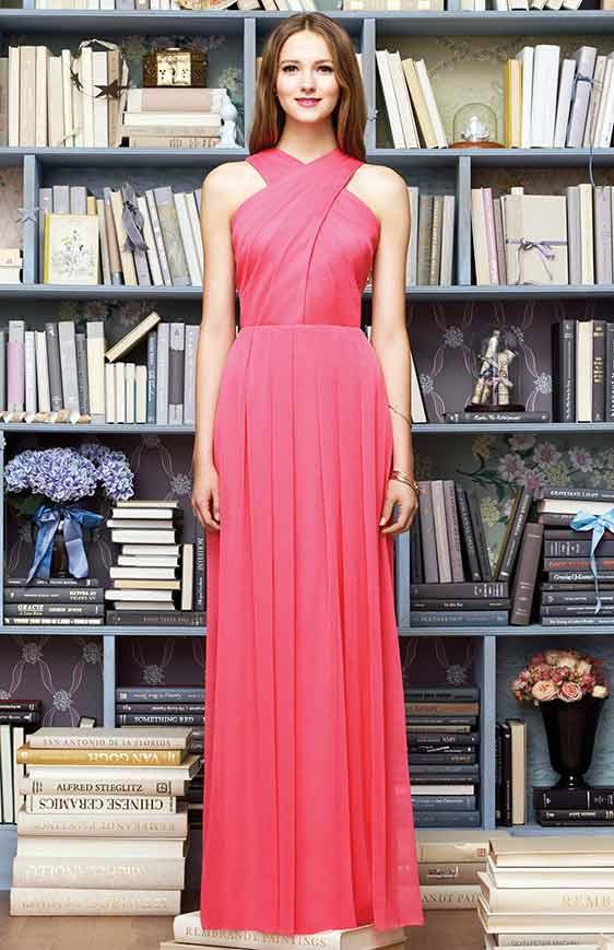 Lela Rose LR212 Bridesmaid dress, floor length halter neckline crinkle chiffon dress