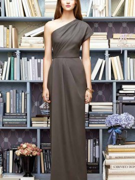Lela Rose LR217 a floor length draped one shoulder crepe bridesmaid dress.